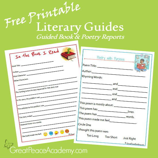 Free Printable Literary Guides: Guided Book & Poetry Reports for Elementary Students at Great Peace Academy