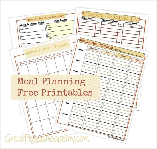 Free Meal Planning Printables | Renée at Great Peace