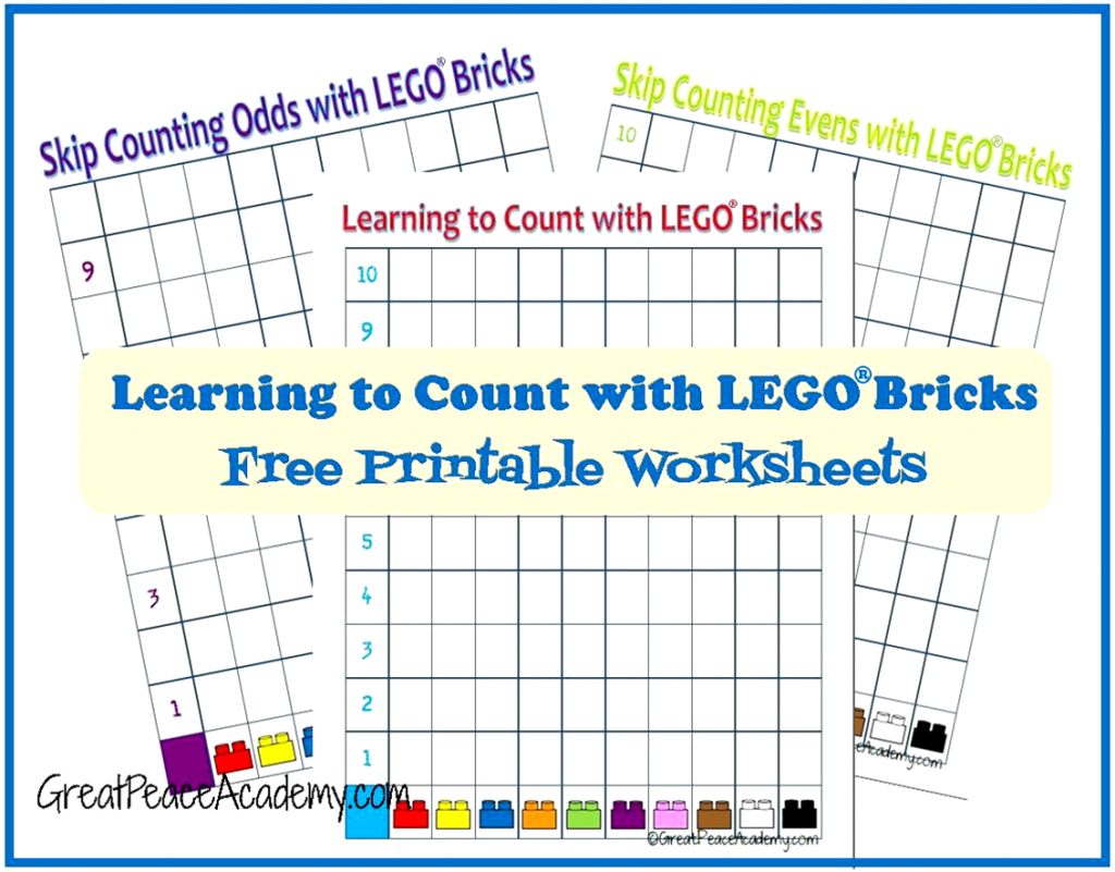 Early learning, teach counting with LEGO Bricks Free Printable Counting Sheets via Great Peace Academy
