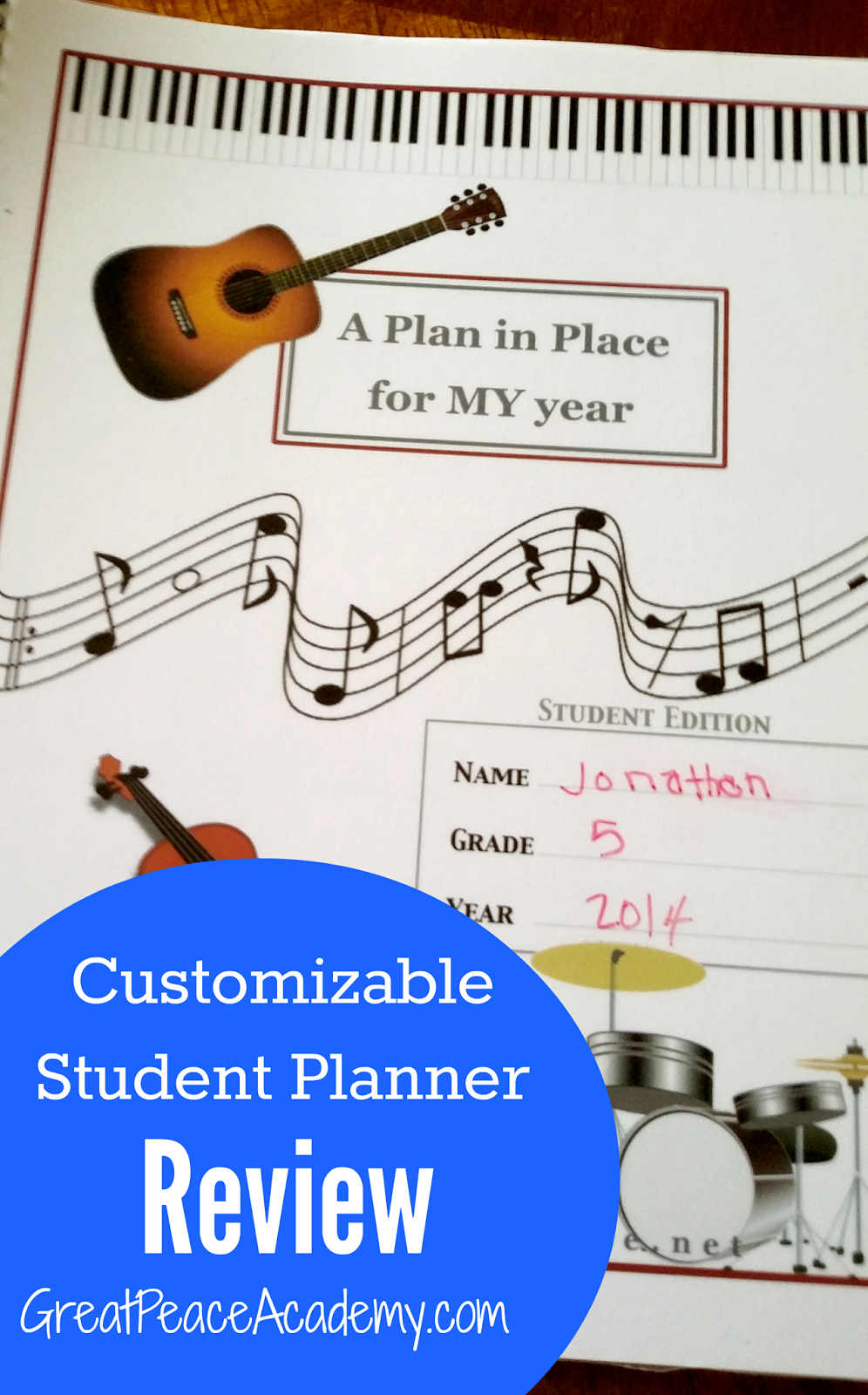 A Plan in Place Customizable Student Planner