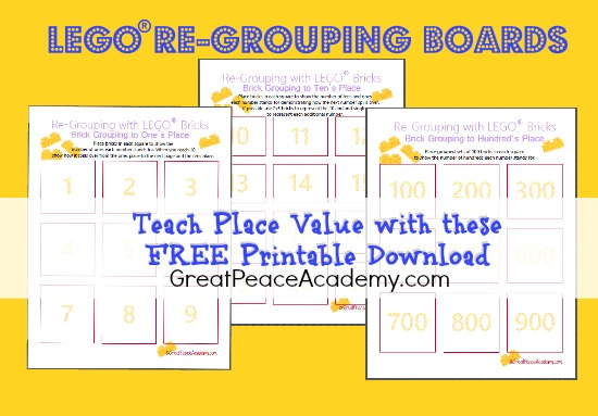Teach Place Value with FREE Download LEGO Re-Grouping Boards from Great Peace Academy