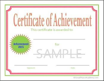 2015 Homeschool Certificates available exclusively at Great Peace Academy.com