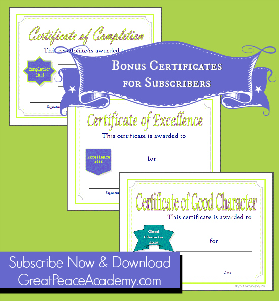 2015 Homeschool Certificates Subscriber Exclusives, available for subscribers at GreatPeaceAcademy.com