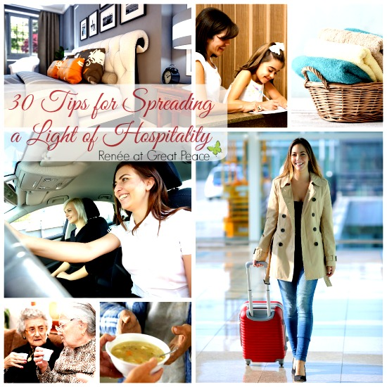 30 Tips for spreading a light of hospitality in your community. by Renée at Great Peace