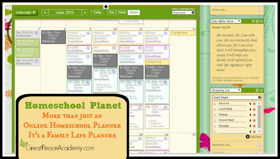 Homeschool Planet is more than just an online homeschool planner it's a family life planner. Review at Great Peace Academy